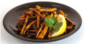 Lemon Garlic Cilantro Sweet potato fries via Bodybuilding.com